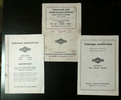 Vintage Briggs & Stratton Operating Instructions Maintenance Manual Catalog Book