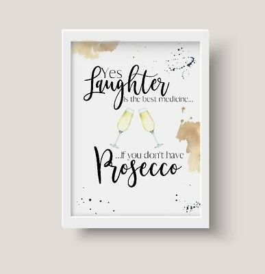 Drink Tea Prosecco Wall Home Decor Drink Quotes Art Pictures Gift A5