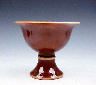 Monochrome Brown Glazed Porcelain High Heel Bowl Cup #01132005