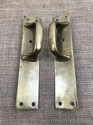 Antique Vintage Reclaimed Solid Heavy Brass Door Pull Handles