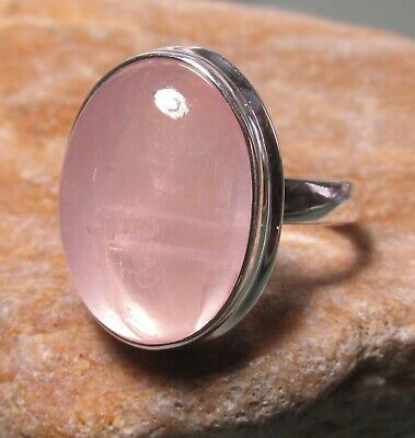 Sterling silver chunky oval cabochon rose quartz ring UK O¾-P/US 7.75. Gift bag