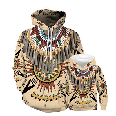 Childrens Kids Boys Girls Casual Native American Indian Graphic Print Hoodie