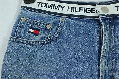 Vintage Tommy Hilfiger Denim Shorts Size 8 Waistband Spellout Embroidered Logo