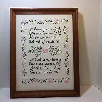 """Friendship Stays Forever Green Finished and Framed Embroidery 14"""" x 18"""""""