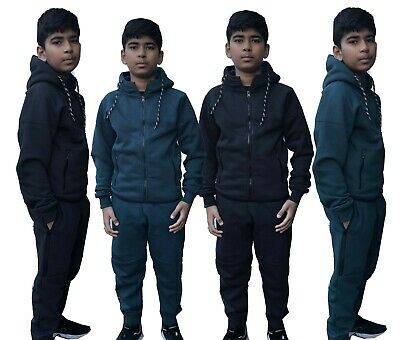 Boys Tracksuit New Kids Plain Hooded Jogging Bottoms And Hoodie Ages 7-13 Years