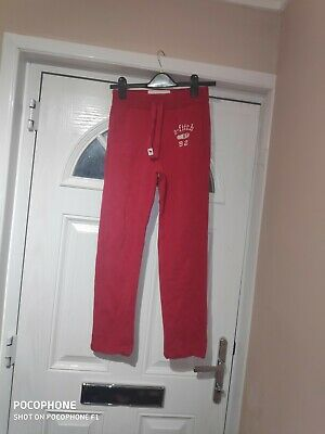 Red Abercrombie And Fitch Jogging Bottoms Size M
