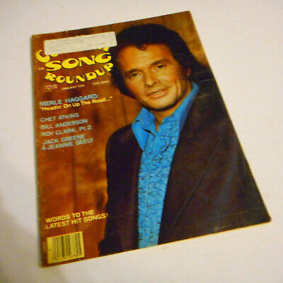Merle Haggard Covers Country Song Roundup Magazine January 1976 Roy Clark