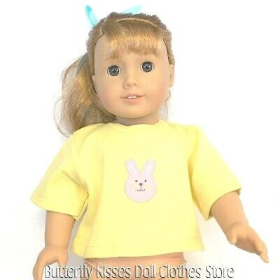 """Yellow Easter Bunny T-Shirt 18""""  Doll Clothes Fits American Girl"""