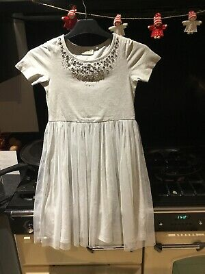 Next Grey Girls Party Dress Age 6 Yrs