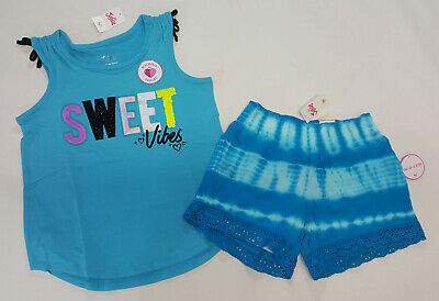 NWT Justice Kids Girls Size 6/7 8 10 or 12 Sweet Vibes Top & Blue Tie Dye Shorts