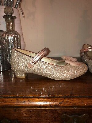 Girls Rose Gold Glitter Bow Shoes Size 2 Party