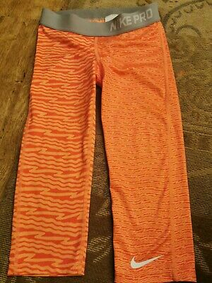 Girls Nike Pro Cropped Running Leggings Size M Age 10-12