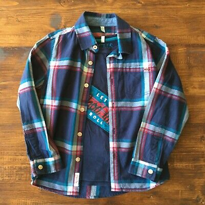 Joules Boys Check Shirt & Long Sleeve T-Shirt Set Navy Red Blue Age 5 Years