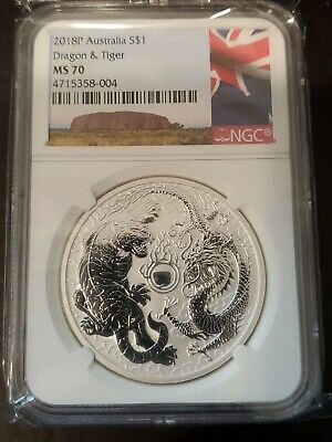 2018-P NGC MS 70 Dragon & Tiger AUSTRALIA LABEL $1 oz Silver Perfect