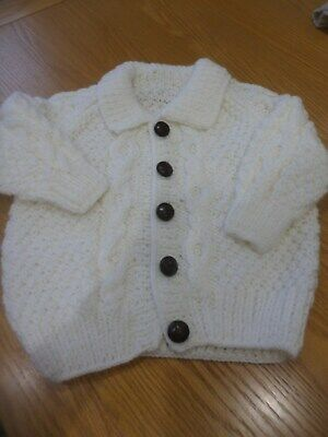 HAND KNITTED WHITE TRADITIONAL ARAN CARDIGAN BOY GIRL 26in 66cm CHRISTMAS GIFT