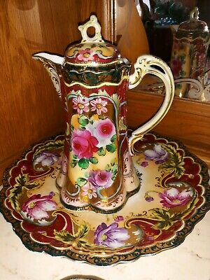 Chocolate Pot With 2 Cups And Saucers Beautiful Detailing Pops of Color