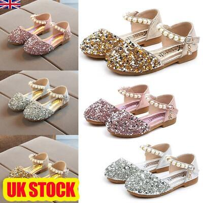 Childrens Girls Kids Shoes Flat Pumps Glitter Party Bow Mary Jane Ballet Sandals