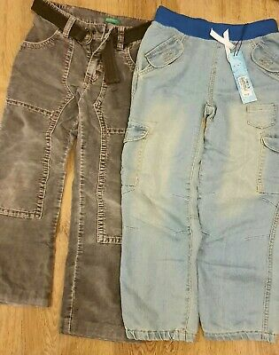 Boys Trousers 2 Pairs Age 6 United Colors Velvet Mink belt And Elasticated Jeans