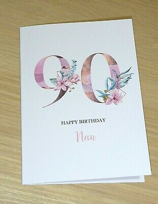 Personalised female Birthday card - Magnolia - ANY AGE  - rose gold - handmade