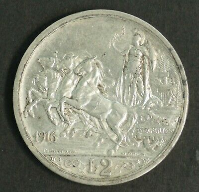 Italy 2 Lire 1916, Scarce Nearly Uncirculated