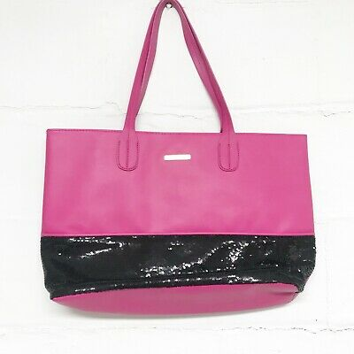 Juicy Couture Pink And Black Colorblock Sequin Tote Purse Shoulder Large Bag