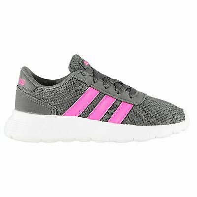 adidas Lite Racer Trainers Childs Girls Grey/Pink/White Shoes Sneakers Footwear