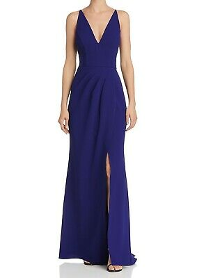 Aqua Womens Dresses Blue US Size 8 Gown V-Neck Pleated Gathered Prom $238 026