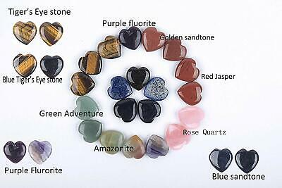 Reiki Mixed Crystal Heart Stone Chakra 30mm Balancing Polished Palm Worry 20 Pcs