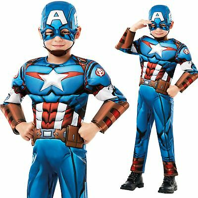 Boys Deluxe Captain America Costume Marvel Avengers Superhero Child Fancy Dress