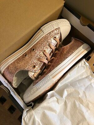 BNWT Converse Rose Gold Glitter Girls Trainers Shoes Size Uk 2.5
