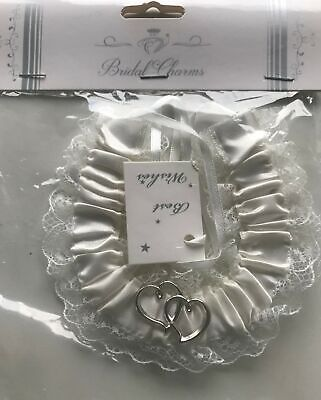 Love Heart  White Lace Wedding Charm Horseshoe Horse Shoe Bridal Lucky  silver