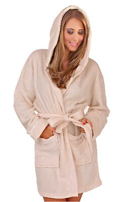 Loungeable Womens Taupe Hooded Robe New Ladies Soft Coral Fleece Dressing Gown