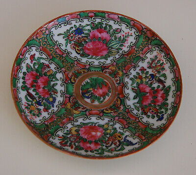"Antique 19th C CHINESE PORCELAIN CANTON FAMILLE ROSE MEDALLION 5.5"" PLATE Qing"