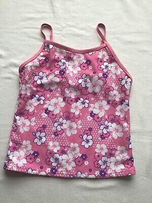 Girls Age 13 Years Swim Tankini Top Pink/White Floral Design