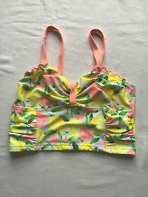Girls Age 13 Years Swim Tankini Top Yellow/Green Lemons Design