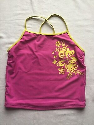 Girls Age 12-13 Years Swim Tankini Top Pink/Yellow Floral Motif  Design