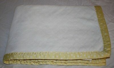 Pottery Barn Kids BABY CRIB BLANKET Yellow & White Polka Dot Quilted Soft Lovey