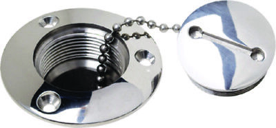 """Attwood 1-1//2/""""  Waste Pump Out Deck Fitting with Stainless Steel Cap #99202"""