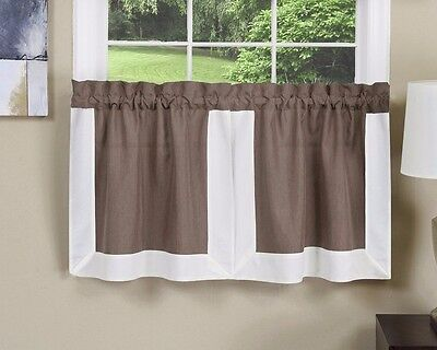 Achim Gramercy Tier Pair 56 x 24 Toffee Brown Kitchen Curtains
