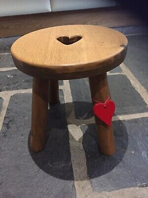 Oak Topped Heart Milking Stool
