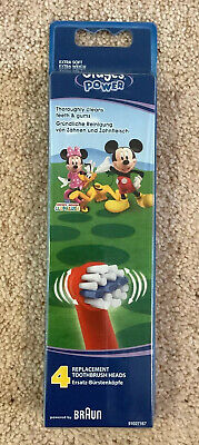 Genuine Braun Oral-B Stages Power Mickey Mouse Toothbrush Heads (4 Pack)