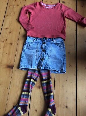 Girls skirt top outfit & tights 4-5 years Mini Boden/Next