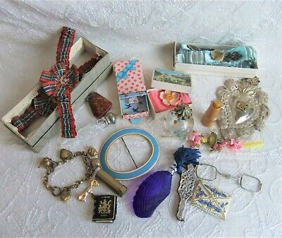 Vintage Collectables Job Lot - mini perfume bottles, jewellery, wedding garters