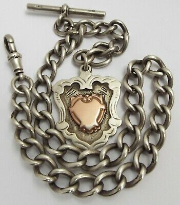 Superb Condition Heavy English Antique 1909 Solid Sterling Silver Albert Chain