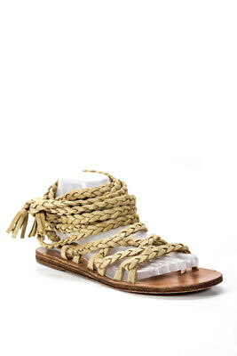Ancient Greek Sandals Womens Braided Lace Up Sandals Tan Brown Size 38 8