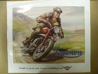 Classic Vintage Triumph 1948 Speed Twin Motorcycle Roland Davies Poster Pre unit