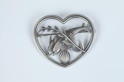 Georg Jensen Sterling Silver Heart Pin With Twin Dolphins And Leafy Branch Motif