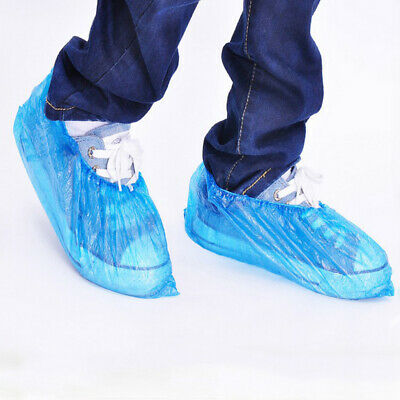 100Pcs Disposable Plastic Anti Slip Shoe Covers Cleaning Overshoes Protective UK