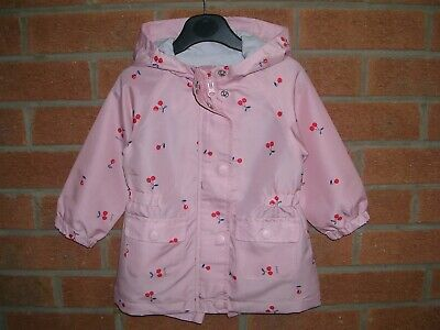 MOTHERCARE Girls Pink Hooded Rain Coat Floral Jacket Age 12-18m 86cm