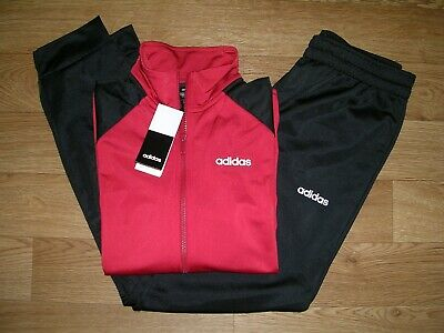 BNWT ADIDAS Boys Black Red Jogging Sports Tracksuit Bottoms Jacket Age 12-13 NEW